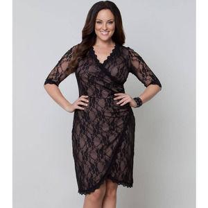 Kiyonna 3/4 Sleeve Gigi Lace Cinch Dress Black 3